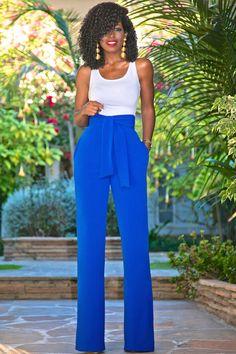 Style Pantry   Bodysuit Tank + High Waist Belted Wide Leg Pants
