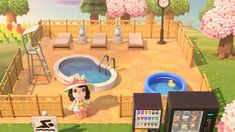 animal crossing new horizons ideas Tours of Animal Crossing towns and houses Animal Crossing 3ds, Animal Crossing Wild World, Animal Crossing Villagers, Animal Crossing Qr Codes Clothes, Horizon Pools, Pool Outfits, Ac New Leaf, Motifs Animal, My Pool