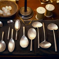 Loving Ted Muehling Serving Utensils for their natural shapes and artisanal craftship. Vintage Cutlery, Dining Ware, Kitchenware, Tableware, Small Spoon, Ceramic Spoons, Serving Utensils, Beautiful Interior Design, Silver Spoons