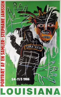 "Original plakat fra udstillingen ""Portræt af en samler: Stephane Janssen"" på Louisiana Museum of Modern Art 1986. Billedet på plakaten er af Basquiat. Museum Of Modern Art, Art Museum, Unique Drawings, Pierre Bonnard, Robert Rauschenberg, Jean Michel Basquiat, Fine Art Gallery, Art Education, Unique Art"