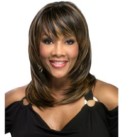 feathered hairstyles with bangs | Rumer - Futura Heat Style Performance Synthetic Hair Wig - Vivica Fox ...