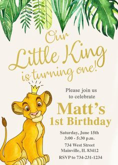38 Ideas for baby first birthday boy lion Lion Birthday Party, Boys First Birthday Party Ideas, Jungle Theme Birthday, Lion King Birthday, First Birthday Party Themes, Birthday Themes For Boys, Baby Boy First Birthday, Boy Birthday Parties, 1st Birthday Invitations