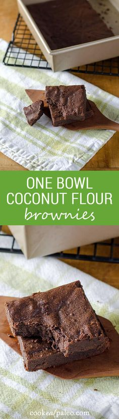 These one bowl coconut flour brownies are completely decadent, but are gluten-free, grain-free, dairy-free, refined sugar-free, nut-free, and paleo. ~ http://cookeatpaleo.com
