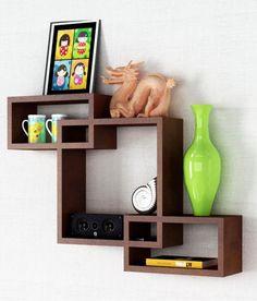 Home Sparkle Brown Wood Mozaic Shelf