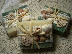 Pretty Beach Favors, adorned with seashells, raffia, burlap and a little wooden heart with a message! Countrychicsoaps.etsy.com