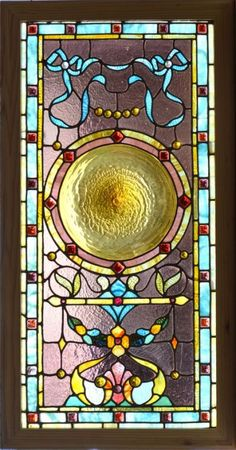 Antique Stained Glass Window Panel