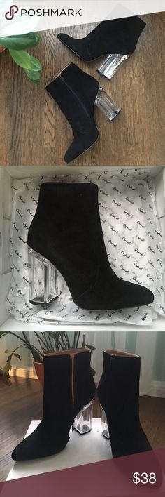 Clear Heeled Black Suede Ankle Boots Size 9 Brand new never been worn black suede ankle boots with clear acrylic chunky heel. Size 9. Brand is Qupid. Qupid Shoes Heeled Boots