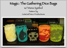 Magic The Gathering Dice Bag Pattern with Mana by LetsGetFisico - wish she still had the pattern for sale!