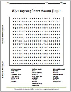Thanksgiving Word Search Puzzle   Free to print. For grades 5-12.