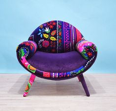 Smiley patchwork armchair - purple love from name design studio. Funky Furniture, Unique Furniture, Painted Furniture, Furniture Design, Patchwork Sofa, Funky Chairs, Funky Sofa, House Colors, Decoration