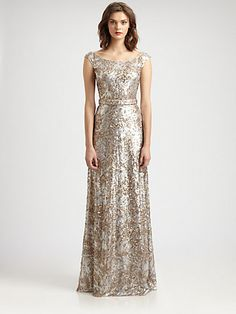 David Meister - Sequined Gown - Saks.com