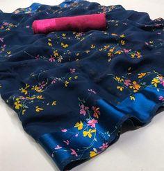 Soft Linen Sari Bollywood Sari Women's Special Sari Indian Designer Sari A Jute Silk Saree, Cotton Saree, Silk Sarees, Cotton Silk, Kota Sarees, Chiffon Saree, Floral Print Sarees, Printed Sarees, Floral Prints