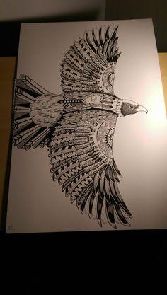 Zentangle Eagle Sharon Barnett Ink 2017 Zentangle Drawings, Mandala Drawing, Zentangle Patterns, Mandala Art, Zentangle Animal, Eagle Back Tattoo, Eagle Wing Tattoos, Wolf Tattoos, Animal Tattoos