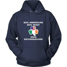 "Saint Patrick's Day - "" 100 % Savannah Irish "" - custom made funny t-shirts."