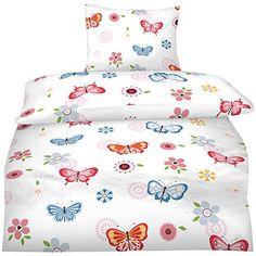 Aminata - Bettwäsche 135x200 Mädchen Schmetterling Jugend…
