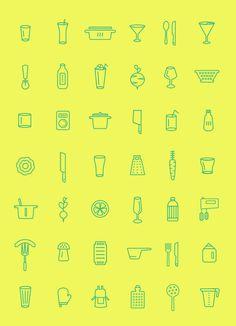 100 Icons hat der polnische Designers Belc . in seiner Küche zusammengemixt #icons #kostenloseicons #iconsforfree #design