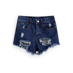 SheIn(sheinside) Ripped Fringe Denim Shorts ($14) ❤ liked on Polyvore featuring shorts, bottoms, pants, sheinside, blue, jean shorts, loose shorts, destroyed denim shorts, blue jean shorts and denim shorts
