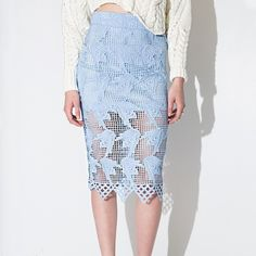 JOA lace midi skirt High waisted skirt in powder blue. Partially lined with crocheted lace overlay. Size large best fits 6-8.  Never worn. JOA Skirts Midi