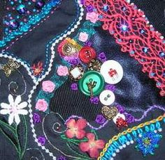 I ❤ crazy quilting & ribbon embroidery . . . CQI Black Jewels DYB - Jo's blocks ~By Debbie