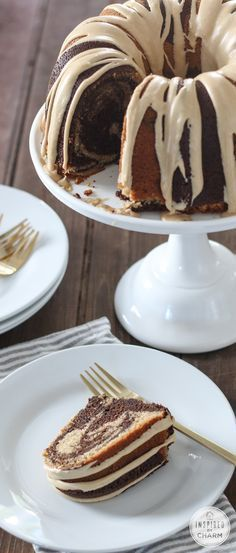 Chocolate Peanut Butter Cake with Peanut Butter Glaze // Officially one of my FAVORITE desserts! @inspiredbycharm