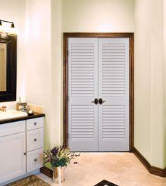 Primed White Louvered Doors by HomeStory Doors
