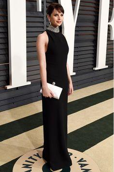 Felicity Jones in a Saint Laurent gown - Academy Awards 2015 Vanity Fair After Party