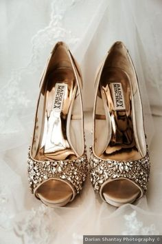Gold beaded peep-toe wedding shoe inspiration {Darian Shantay Photography}