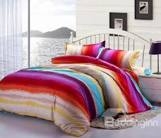 New Arrival 100% Cotton Coral Fleece Colorful Stripes 4 Piece Bedding Sets /Duvet Cover Sets