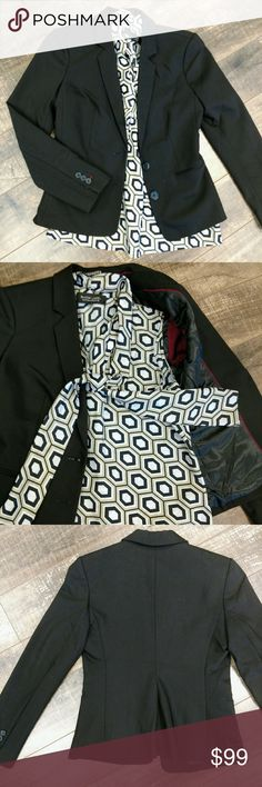 FINAL! Express Black Blazer Two buttons, lined, maroon accents Express Jackets & Coats Blazers