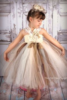 Country Shabby Chic Burlap Ivory Roses Little Girls Tutu Dress