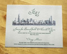 chicago skyline save the dates | Chicago Skyline - Save the Date
