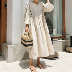 Cotton wrap dress / Kimono dress / Kimono / romantic dress / Cotton tunic dress / loose fit dress / Cotton dress / comfortable dress - Outfits for Work Linen Dresses, Cotton Dresses, Unique Fashion, Vestidos Color Blanco, Floryday Vestidos, Pull Court, Cool Outfits, Fashion Outfits, Fashion Clothes