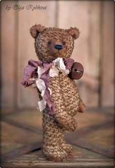 old bear George By Olga Rybkina - Hello my dear! I`m happy to present you my new teddy bear. Height 17 cm standing and 13 cm sitting. The bear was sewn of the German mohair. Arms and legs on cotter pins, handles and legs can move 360 degrees. Inside the bear is sawdust and wood wool. In the tummy is a mineral gran...