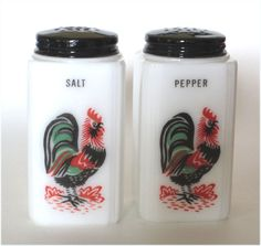 1930's Milk Glass Rooster Salt and Pepper Range Shakers Jadite Green Black and Red TIpp City.