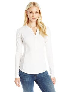 Three Dots Women's Ashley Long Sleeve Henley * You will love this! More info here : Fashion
