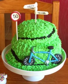 A cycling themed birthday cake