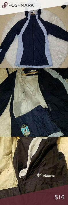 Columbia Rain jacket, S Dark blue Columbia rain jacket in great condition. Tons of big pockets. Great shell for layering. Columbia Jackets & Coats
