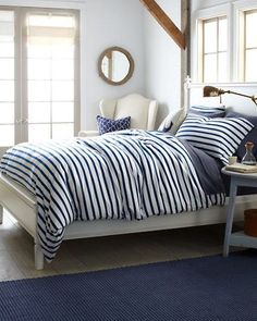 French Stripe Jersey-Knit Bedding - Garnet Hill I like the mix of wood tones+white+navy