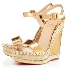 b23dbcf6d33 Authentic Brand New Christian Louboutin Duplice Mirror Gold Wedge