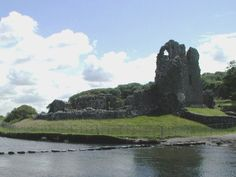 Ogmore Castle,and the stepping stones, South Wales, UK