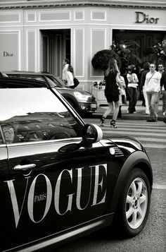 Dior Store on Avenue Montaigne. Oh yeah. And a Vogue Mini Cooper. Dior Store on Avenue Montaigne. Oh yeah. And a Vogue Mini Cooper. Boujee Aesthetic, Aesthetic Collage, Aesthetic Vintage, Aesthetic Photo, Aesthetic Pictures, Aesthetic Bedroom, Black And White Picture Wall, Black N White, Black And White Pictures