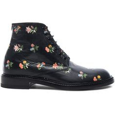 Saint Laurent Grunge Flower Leather Lolita Boots ($995) ❤ liked on Polyvore featuring shoes, boots, ankle boots, genuine leather boots, low heel boots, leather bootie, leather lace up boots and short heel boots