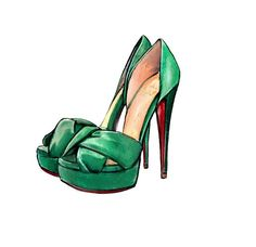 Fashion Illustration, Green Christian Louboutin Volpi Shoes, Watercolor Art Print. $10.00