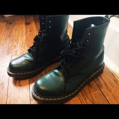 Dr. Martens Women's 1460 Originals 8 Eye Lace Up Lace Up Boot, Green Smooth Leather, 6 UK (8 M US Women's), scarcely worn. Lightly worn in but show little to no evidence of wear. Dr. Martens Shoes Lace Up Boots