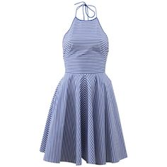 Michael Kors Striped Halter Dress (5 000 PLN) ❤ liked on Polyvore featuring dresses, vestidos, day dress, short dresses, blue, mini dress, cotton dresses, short blue dresses, striped mini dress and striped dress