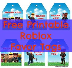 Free Printable Roblox Favor Tags Birthday FavorsBirthday Party