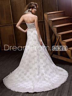 Attractive A-line Floor-Length Halter Chapel Train Lace Embellishing Wedding Dresses