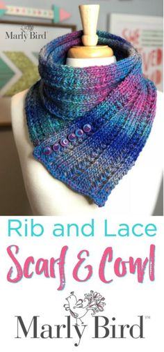 Super Simple Rib and Lace Scarf and Cowl by Marly Bird is a Free Pattern and Free Video Tutorial.   Make this scarf & cowl with one ball of Colorscape yarn by @RedHeartYarns.   #marlybird #scarf #cowl #buttons #knitting #free #video