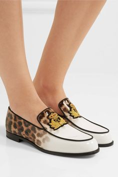 Christian Louboutin - Laperouza Appliquéd Leopard-print Patent-leather Loafers - Leopard print - IT34