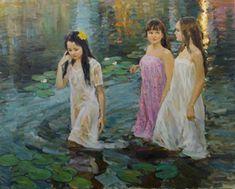 """""""Mermaids"""" by Vladimir Gusev,  2015, oil on canvas, 80x100 cm."""